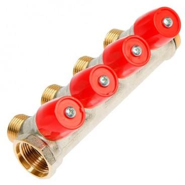 """Коллектор GF Red 1""""х3/4"""" 4 вых., с вентилями, латунь"""