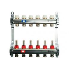 Коллектор  Stout на 7 выходов из нержавеющей стали с регулирующими клапанами и расходомерами