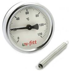 Термометр накладной 120* Dn 63 с пружиной Uni-Fitt