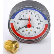 Термоманометр аксиальный 10 bar, 120 C, d=80 мм, 1/2 НР Watts