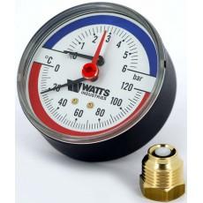 Термоманометр аксиальный 4 bar, 120 C, d=80 мм, 1/2 НР Watts