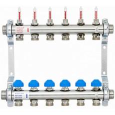 Коллектор  Watts на 11 выходов HKV2013AF из нержавеющей стали с регулирующими клапанами и расходомерами