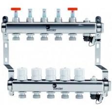 Коллектор Wester на 10 выходов из нержавеющей стали с регулирующими клапанами и расходомерами