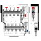 Коллектор Wester на 4 выхода из нержавеющей стали с регулирующими клапанами и расходомерами
